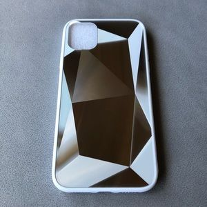 iPhone 11 Geometric White and Silver Phone Case